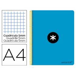 Bloc Antartik Folio Cuadrícula tapa Plástico 80 hojas 100g/m2 color Azul con margen