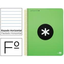 Bloc Antartik Folio Rayado Horizontal tapa Plástico 100g/m2 color Verde Flúor con margen