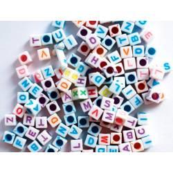 Cuentas de plastico Abecedario Forma cubo colores surtidos marca itKrea
