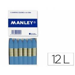 Lapices de cera Manley unicolor verde azulado oscuro caja de 12