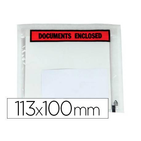 Sobre autoadhesivo Q-connect portadocumentos 113x100 Paquete de 100