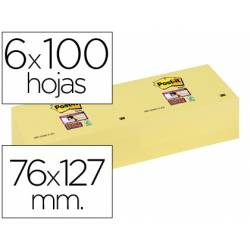 Post-it ® Bloc notas quita y pon 76 x 127 mm amarillo