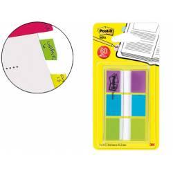 Banderitas Post-it ® separadoras Index color verde, azul y violeta