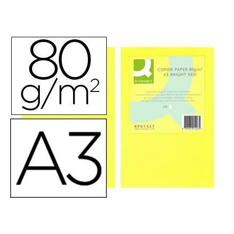 Papel color Q-connect A3 80g/m2 Amarillo neon pack 500 hojas