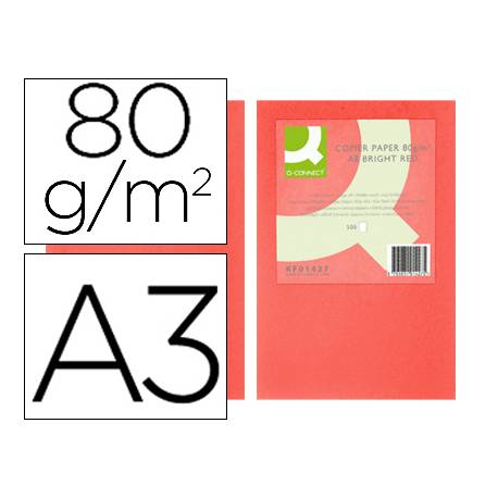 Papel color Q-connect A3 80g/m2 Rojo intenso pack 500 hojas