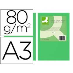 Papel color Q-connect A3 80g/m2 verde intenso pack 500 hojas