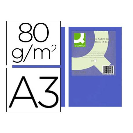 Papel color Q-connect A3 80g/m2 Azul intenso pack 500 hojas