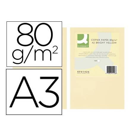 Papel color Q-connect A3 80g/m2 Crema pack 500 hojas