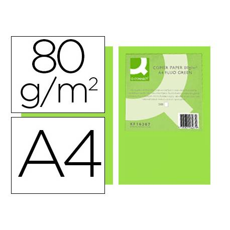 Papel color Q-Connect Din A4 Verde neon 500 hojas