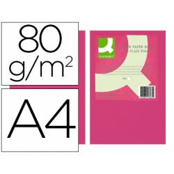Papel color Q-connect A4 80g/m2 Rosa neon pack 500 hojas