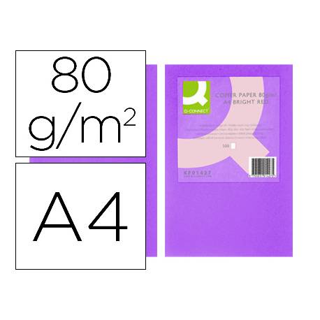 Papel color Q-connect A4 80g/m2 pack 500 hojas Lila intenso