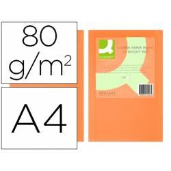 Papel color Q-connect A4 80g/m2 pack 500 hojas Naranja intenso