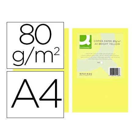Papel color Q-connect A4 80g/m2 pack 500 hojas Amarillo intenso