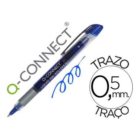 Boligrafo Q-connect roller ball azul 0,5 mm