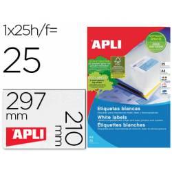 25 Etiquetas adhesiva Apli 1215 210x297 mm caja con 25 hojas con 25 etiquetas cada una