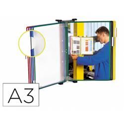 Clasificador de pared de metal con 10 fundas de colores surtidos tamaño A3