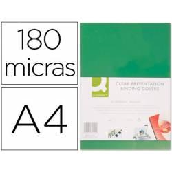 TAPA DE ENCUADERNACION Q-CONNECT PVC DIN A4 OPACA VERDE 180 MICRAS CAJA 100 UNIDADES