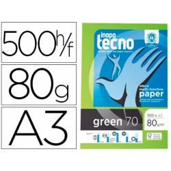 Papel multifuncion DIN A3 Tecno Green 80 g/m2 100% reciclado 500 hojas