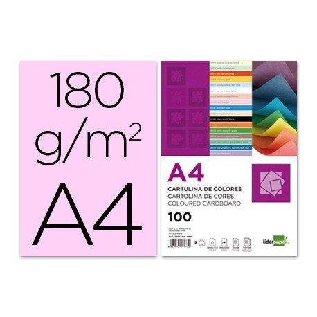 Cartulina Liderpapel rosa a4 180 g/m2