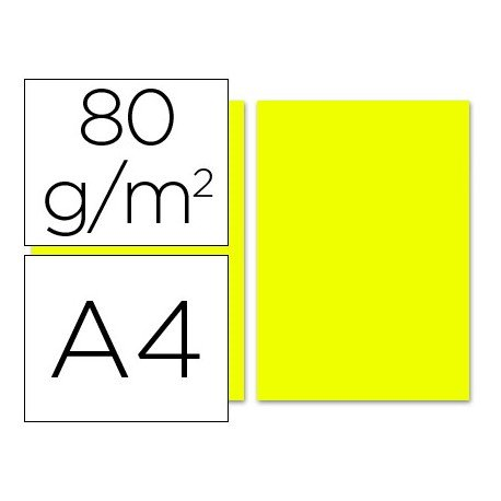 Papel color Liderpapel limon A4 80g/m2