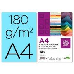 Cartulina Liderpapel color celeste a4 180 g/m2. Caja de 100 unidades