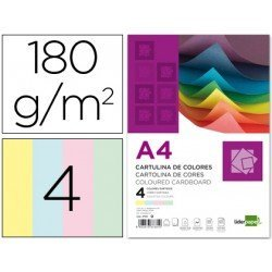Cartulina Liderpapel 4 colores surtidos a4 180 g/m2