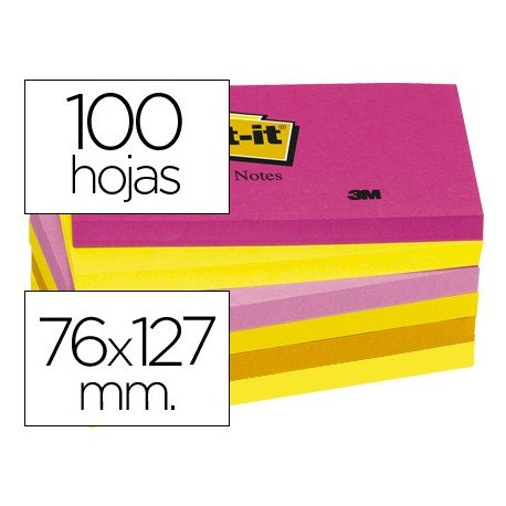 Post-it ® Bloc quita y pon Neon 127 x 76 mm