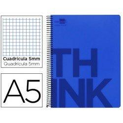 Bloc Din A5 Liderpapel serie Think cuadricula 5 mm azul