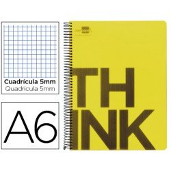 Bloc Din A6 Liderpapel serie Think cuadricula 5 mm amarillo