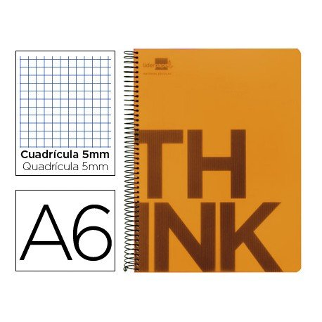 Bloc Din A6 Liderpapel serie Think cuadricula 5 mm naranja