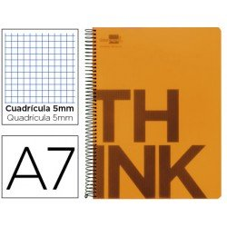 Bloc Din A7 Liderpapel serie Think cuadricula 5 mm naranja