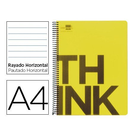 Bloc Din A4 Liderpapel serie Think rayado amarillo