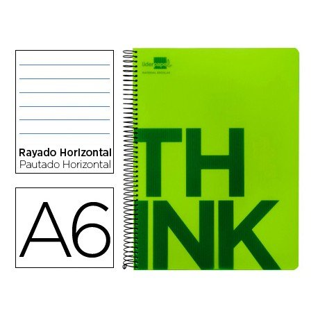 Bloc Din A6 Liderpapel serie Think rayado verde