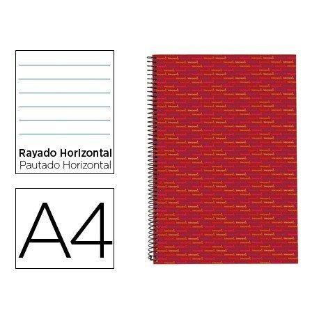 Bloc Din A4 espiral Microperforado Tapa forrada rayado Multilider Liderpapel rojo