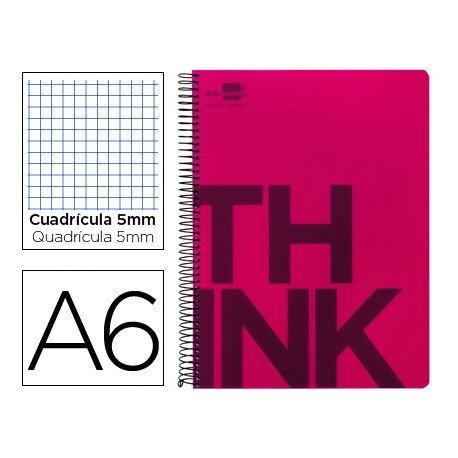 Bloc Din A6 Liderpapel serie Think cuadricula de 5 mm rojo