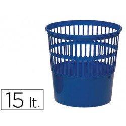 Papelera plastico rejilla azul 15 L