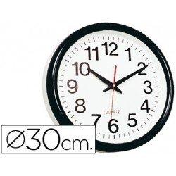 Reloj pared plastico 30 cm marco negro