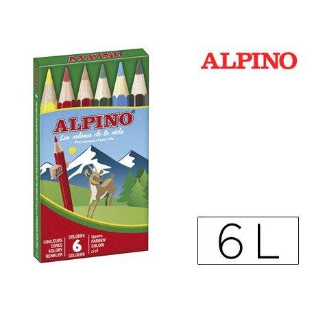 Lapices de Colores Alpino Hexagonales Caja de 6 lapices Cortos