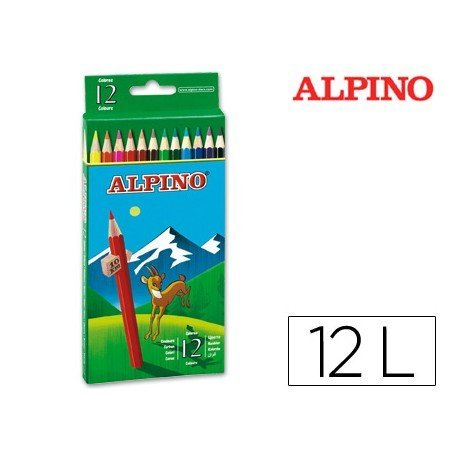 Lapices de Colores Alpino Hexagonales Caja 12 lapices largos