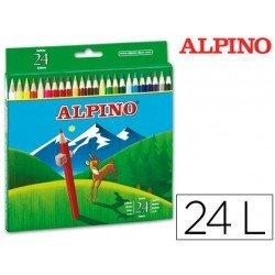 Lapices de Colores Alpino Hexagonales Caja de 24 lapices largos
