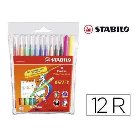 Rotulador Stabilo Trio Punta Fina lavable triangular caja de 12 rotuladores