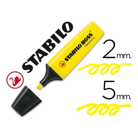 Rotulador Stabilo Boss 70 amarillo. Marcador Fluorescentes