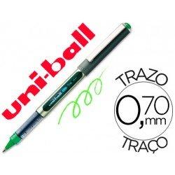Rotulador-bolígrafo roller Uni-Ball verde claro UB-157 0,5 mm.