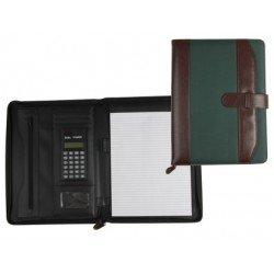 Portadocumentos Carpeta Csp Marron/Verde A4 con calculadora