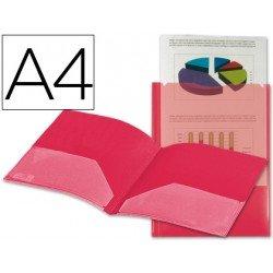 Carpeta dossier con doble bolsa Liderpapel Din A4 rojo