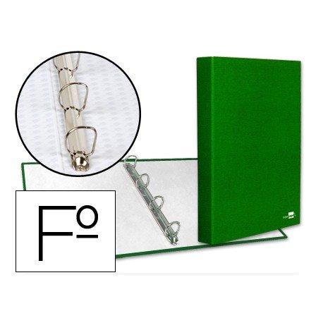 Carpeta 4 anillas carton forrado Liderpapel Paper Coat lomo 40 mm verde
