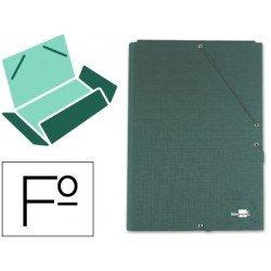 Carpetas de gomas carton forrado Paper Coat Liderpapel Folio verde