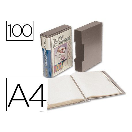 Carpeta escaparate 100 fundas Beautone gris