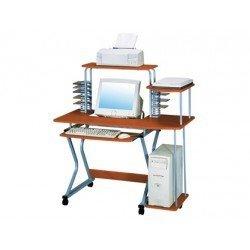 Mesa de informatica Q-Connect Sw 06 aluminio y madera Roble