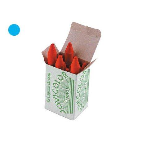 Lapices cera Jovi caja de 12 unidades color azul claro